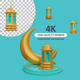 Lanterna islâmica no pódio com a lua crescente renderização em 3d de modelagem de personagens