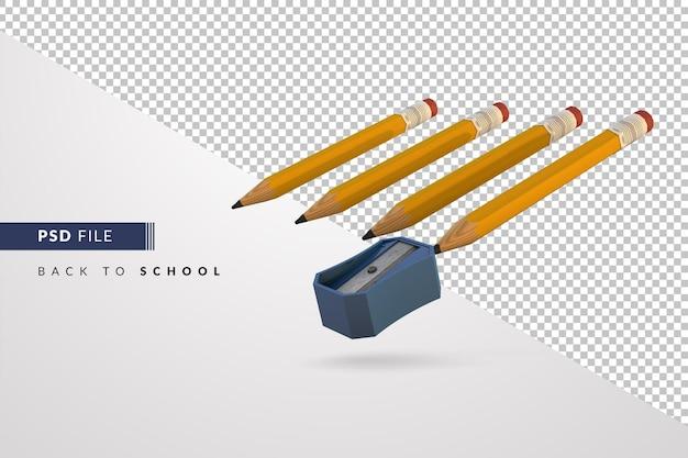Lápis alinhados para serem apontados com apontador azul, um conceito 3d de volta às aulas