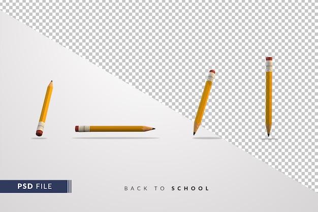 Lápis amarelo clássico definido conceito 3d de volta às aulas