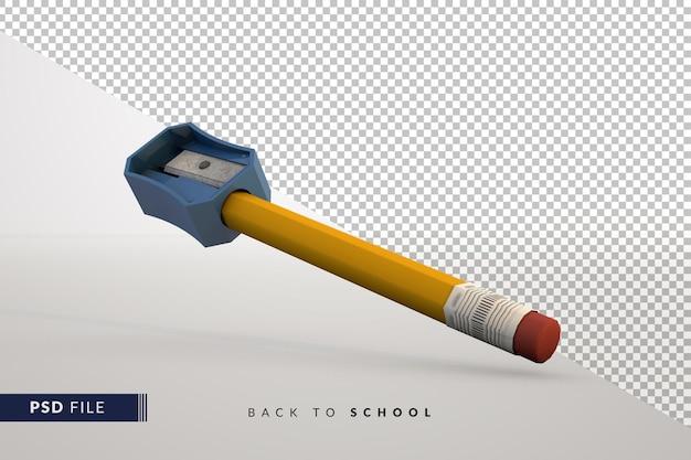 Lápis e apontador clássicos, um conceito 3d de volta às aulas