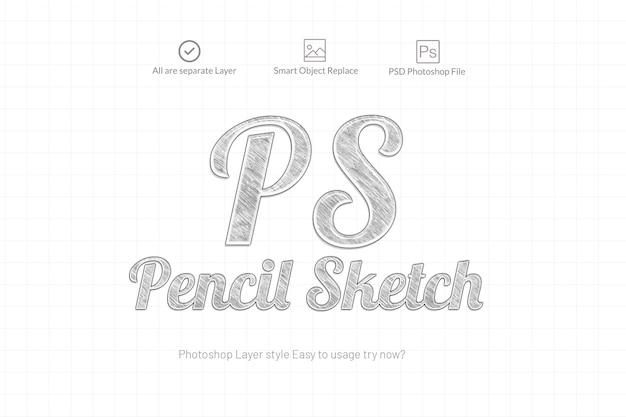 Lápis esboço photoshop efeito de texto
