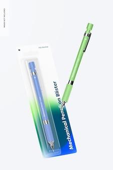 Lápis mecânico em blister mockup, flutuante
