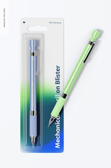 Lápis mecânico em blister, vista superior