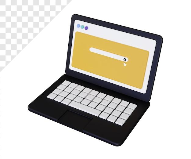 Laptop 3d com barra de pesquisa