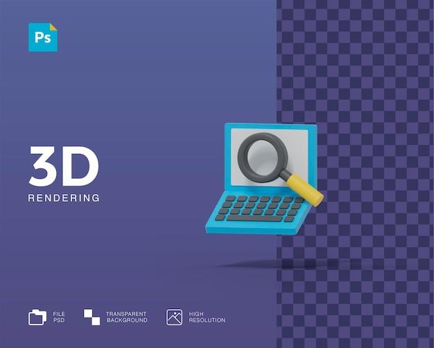 Laptop 3d com lupa pesquisando ilustração