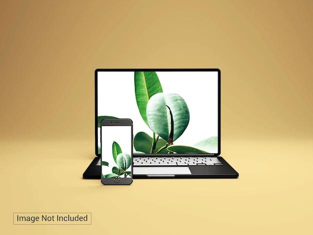 Laptop com maquete de telefone celular