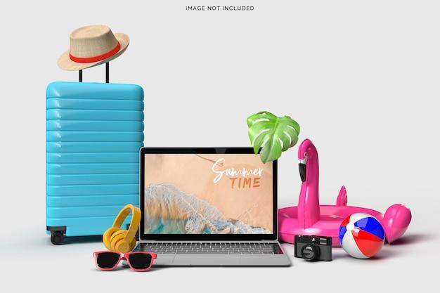 Laptop com objetos decorativos de praia. maquete do conceito de venda de verão