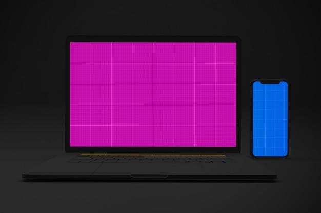 Laptop e maquete móvel