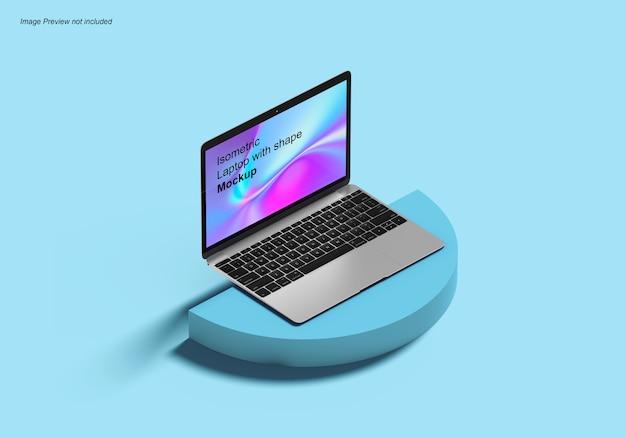 Laptop isométrico com maquete de forma Psd Premium