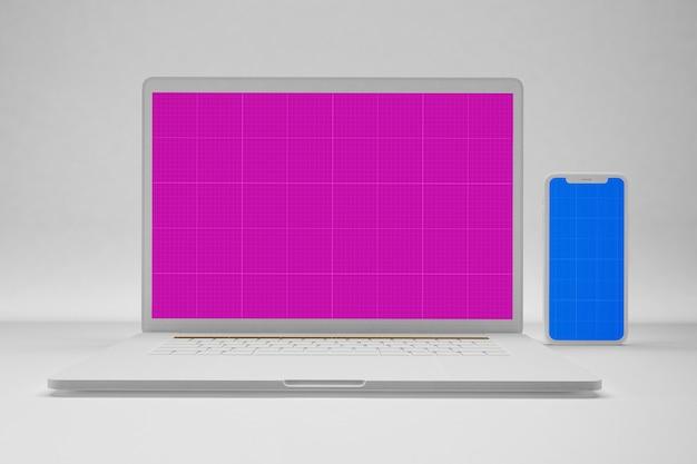 Laptop limpo e maquete móvel