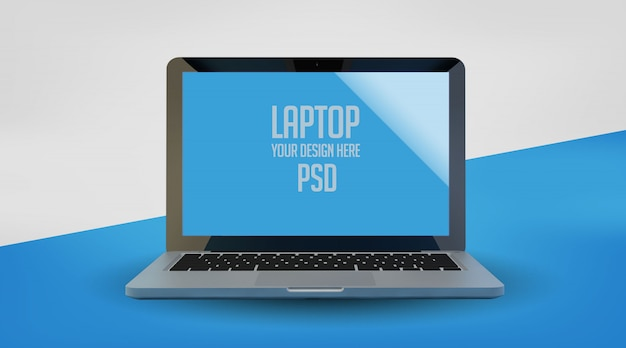 Laptop mock up sobre fundo azul pastel cor psd premium