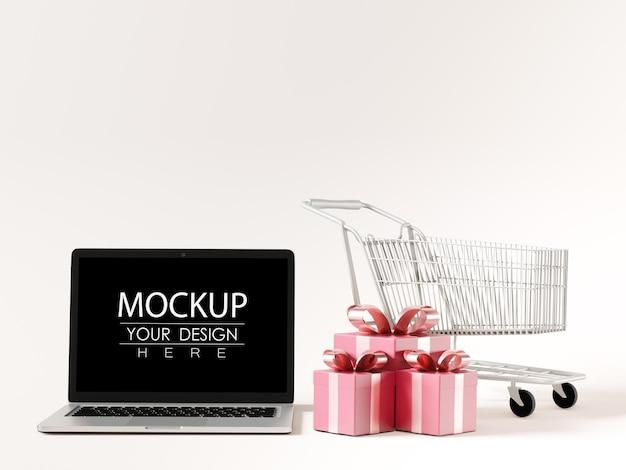 Laptop na maquete do espaço de trabalho