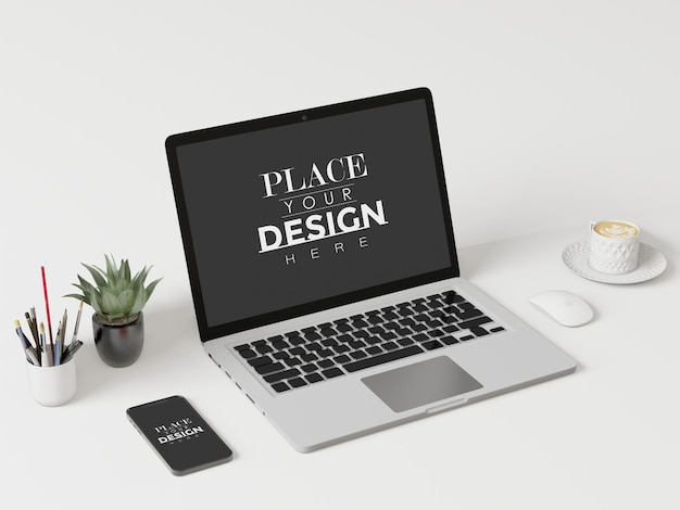 Laptop na mesa no espaço de trabalho maquete psd