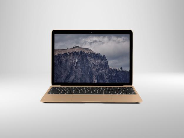 Laptop no fundo branco simulação