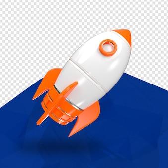 Laranja foguete 3d direita para composição