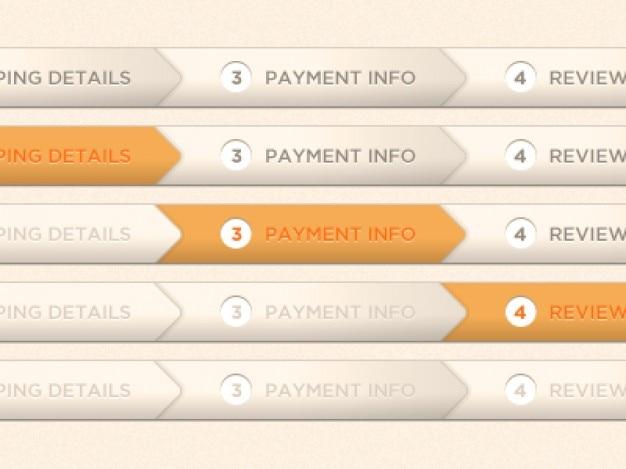 Laranja indicador de processo de pagamento psd