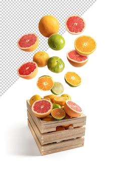 Laranjas e tangerinas voando em uma caixa de madeira