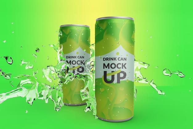 Lata de bebida longa realista realista de qualidade premium com maquete de respingos de água