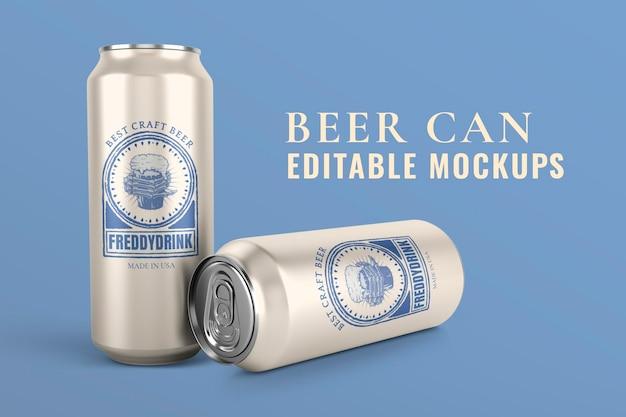 Lata de cerveja mockup psd, marca de produto legal