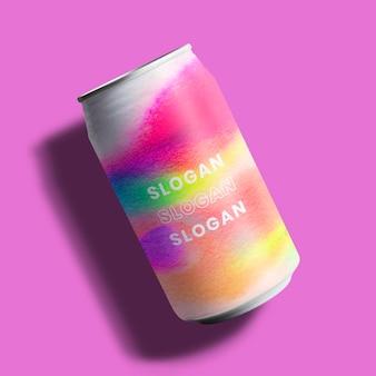 Lata de refrigerante colorida mockup embalagem de alimentos e bebidas estilo arte de cromatografia
