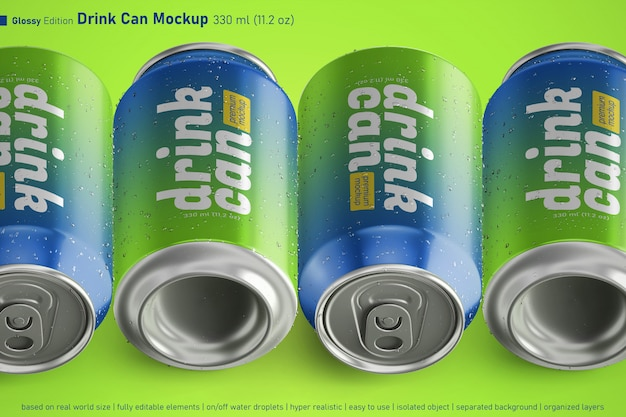 Lata de refrigerante de metal brilhante pode tamanho padrão de 330 ml em quatro modelos de variação