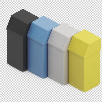 Latas de lixo isométricas