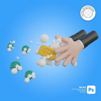 Lavagem das mãos com sabão e ilustração 3d do vírus corona