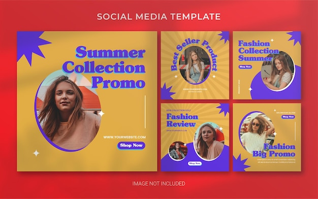 Layout de banner de postagem de moda retrô de verão nas mídias sociais