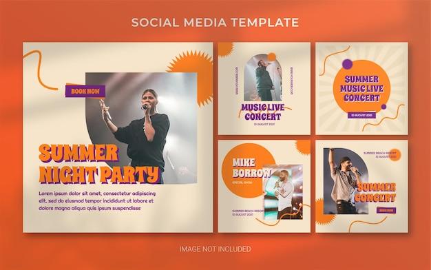 Layout de banner de postagem em mídia social retrô de concerto de música de verão