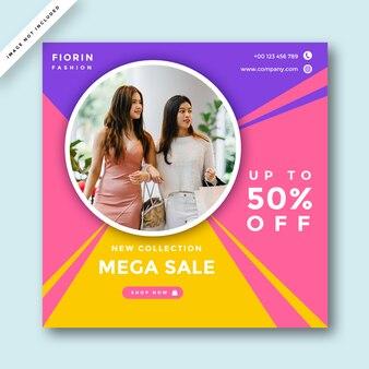 Layout de design de promoção de mídia social de moda