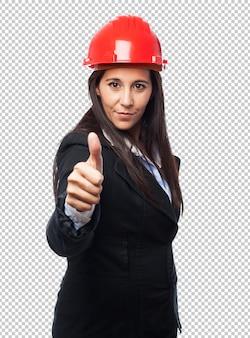 Legal, arquiteta-mulher, aprovação, sinal