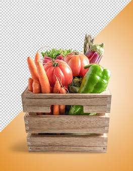 Legumes em caixa de madeira