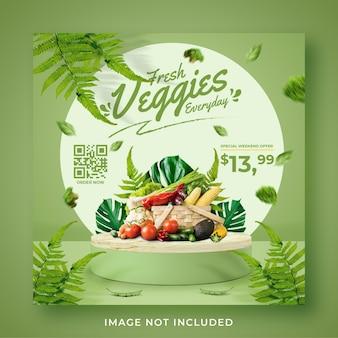 Legumes frescos e saudáveis promoção de mercearia mídia social modelo de post banner de instagram
