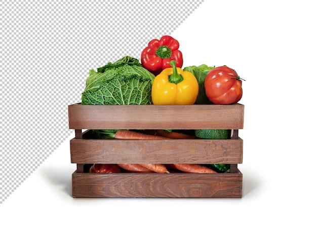 Legumes frescos em uma caixa de madeira, maquete