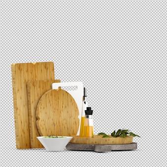 Legumes isométricos 3d isolado render