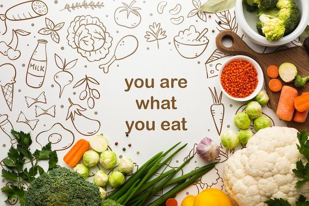 Legumes saudáveis com mensagem positiva