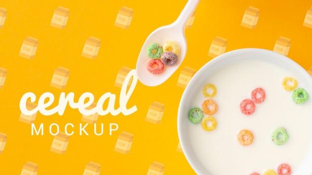Leite e cereais em uma tigela no café da manhã