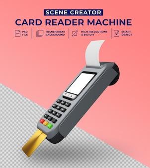 Leitor de cartão de débito e crédito em design 3d