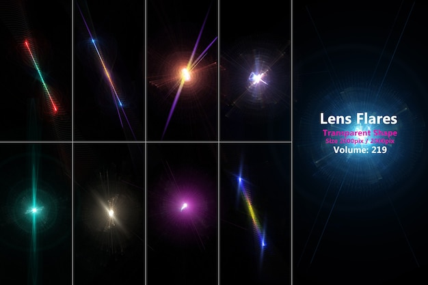 Lens flares conjunto colorido realista isolado