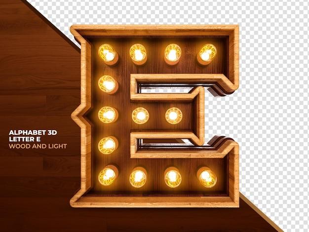 Letra 3 3d render madeira com luzes realistas