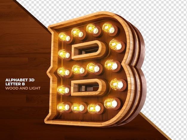 Letra b 3d render madeira com luzes realistas