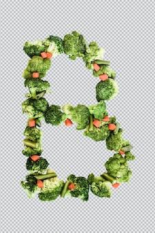 Letra b. estilo de vida e nutrição saudáveis. alfabeto ingles. texto dos produtos. brócolis, aspargos, cenouras. fonte do designer. fonte vegetal. psd