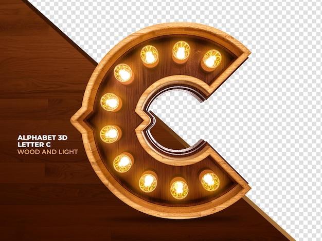 Letra c 3d render madeira com luzes realistas