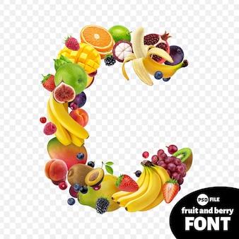Letra c, símbolo de fonte de frutas