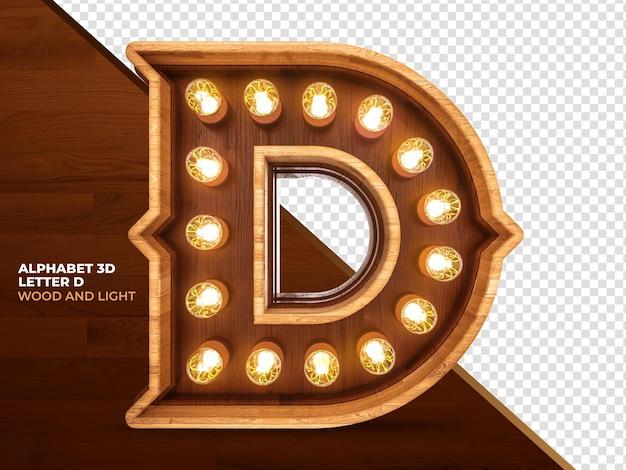 Letra d 3d render madeira com luzes realistas