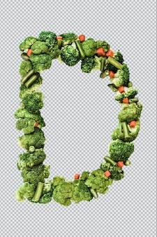 Letra d. estilo de vida e nutrição saudáveis. alfabeto ingles. texto dos produtos. brócolis, aspargos, cenouras. fonte do designer. fonte vegetal. psd