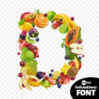 Letra d, símbolo de fonte de frutas