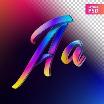 Letra de cor do arco-íris caligráfico 3d