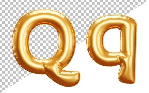 Letra do alfabeto realista q balão de folha isolado