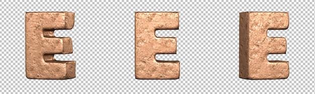 Letra e do conjunto de coleta de alfabeto de letras de cobre. isolado. renderização 3d
